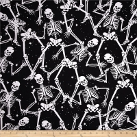 Gothic Glam Them Bones Skeleton Toss Black
